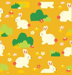 Cute bunny pattern seamless background vector