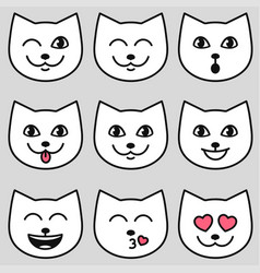cute cat faces with different emotions vector image