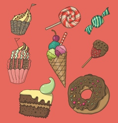 cute dessert set vector image