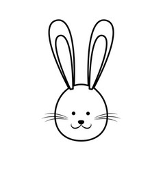 cute easter bunny face line vector image