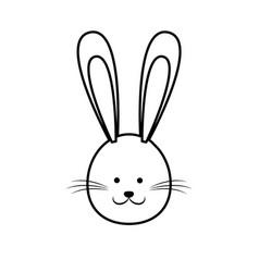 Cute easter bunny face line vector