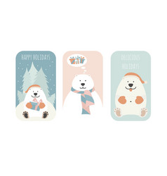 Cute fat polar bear christmas holiday greeting vector