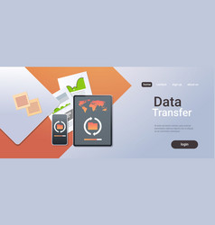 data transfer cloud computer connection database vector image