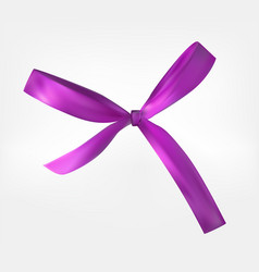 Design product purple ribbon and bow 3d realistic vector