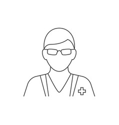 doctor avatar line icon on white background vector image