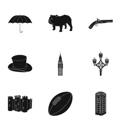England country set icons in black style Big vector