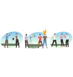 entertainment show compositions flat set vector image