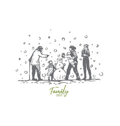 family winter snowman people vector image