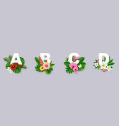 Floral alphabet paper cut vector