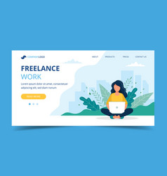 freelance work page template woman working with vector image