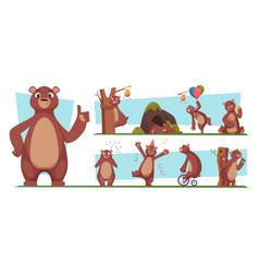 Funny bear brown wild animal with honey bear vector