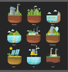 Generation energy types power plant vector