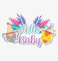 Giraffe and elephant with party hat to baby shower vector
