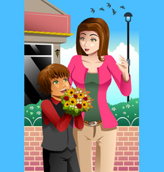 girl giving bouquet flowers to mother vector image