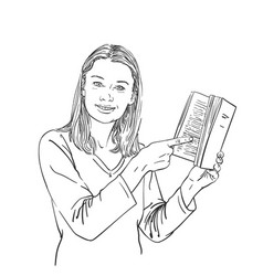 Girl is pointing with finger on book in her hand vector