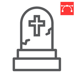 Gravestone line icon halloween and scary vector