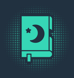 green holy book koran icon isolated on blue vector image