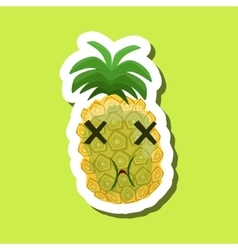 Green Pineapple Being Sick Cute Emoji Sticker On vector image