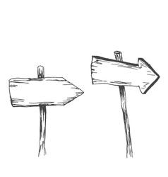 hand sketch wooden indicators vector image