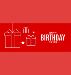 happy birthday banner birthday gifts on red vector image