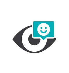 human eye with happy face in chat bubble colored vector image