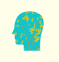Human head in profile with branches young tree vector