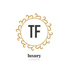 initial letter tf luxury creative design logo vector image