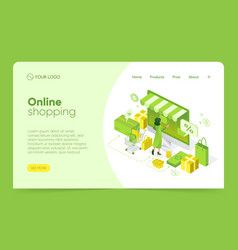 isometric e-commerce - landing pages with green vector image