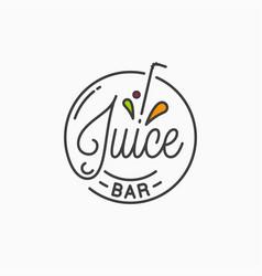 juice bar logo round linear logo juice splash vector image