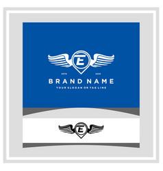 Letter e pin map wing logo design concept vector