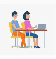 Man and woman working on laptop meeting vector