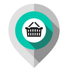 Map pin symbol shopping cart gps pointer vector