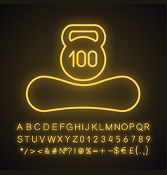 Maximum weight limit up to 100 kg neon light icon vector