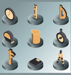 measuring color isometric icons vector image