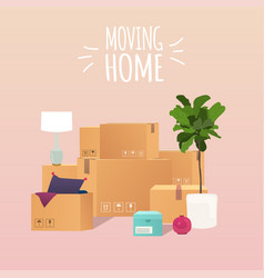 Moving home pile stacked sealed goods vector