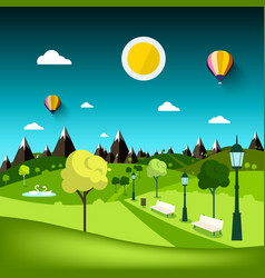 nature landscape park cartoon with mountains on vector image