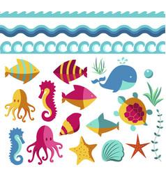 Nautical animal elements wave ocean sea blue vector