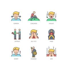 Negative feelings rgb color icons set vector