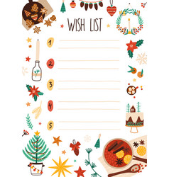New year wish list decorated vector