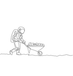 One single line drawing astronaut pushing vector
