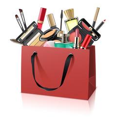 Paper bag with makeup cosmetics vector