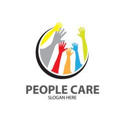 people hands care logo designs simple modern vector image