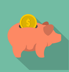 pig money icon flat style vector image