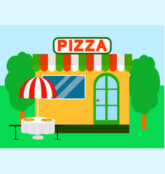pizza street shop festival background flat style vector image