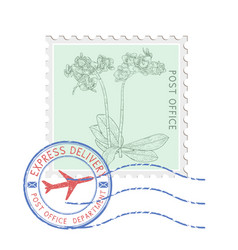 Postal stamp with flower and blue round postmark vector
