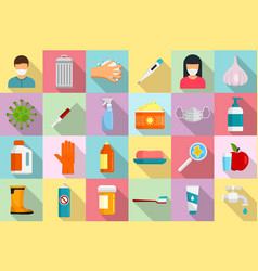 Prevention icons set flat style vector
