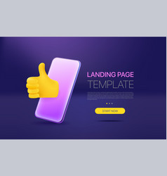 Promo landing page template with modern vector