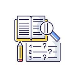 Reading examination rgb color icon vector