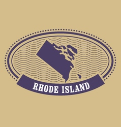 rhode island map silhouette - oval stamp state vector image