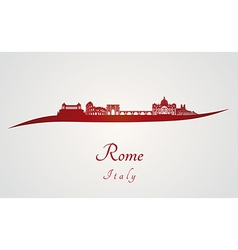 Rome skyline in red vector